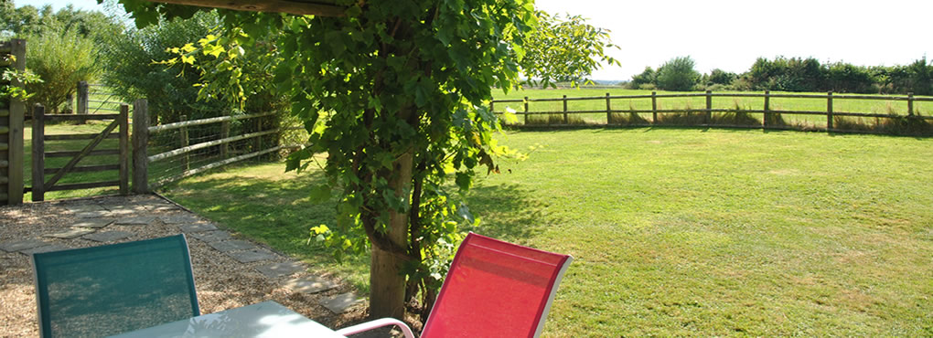 Private enclosed garden overlooking fields